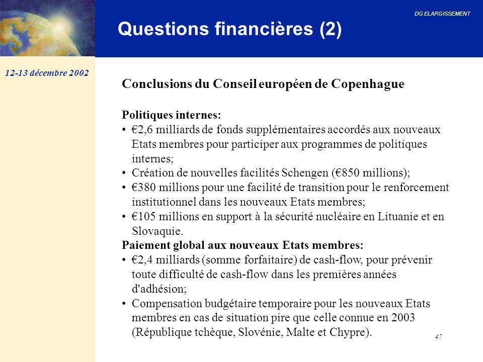 DG ELARGISSEMENT 47 Questions financières (2) 12-13 décembre 2002 Conclusions du Conseil européen de Copenhague Politiques internes: €2,6 milliards de