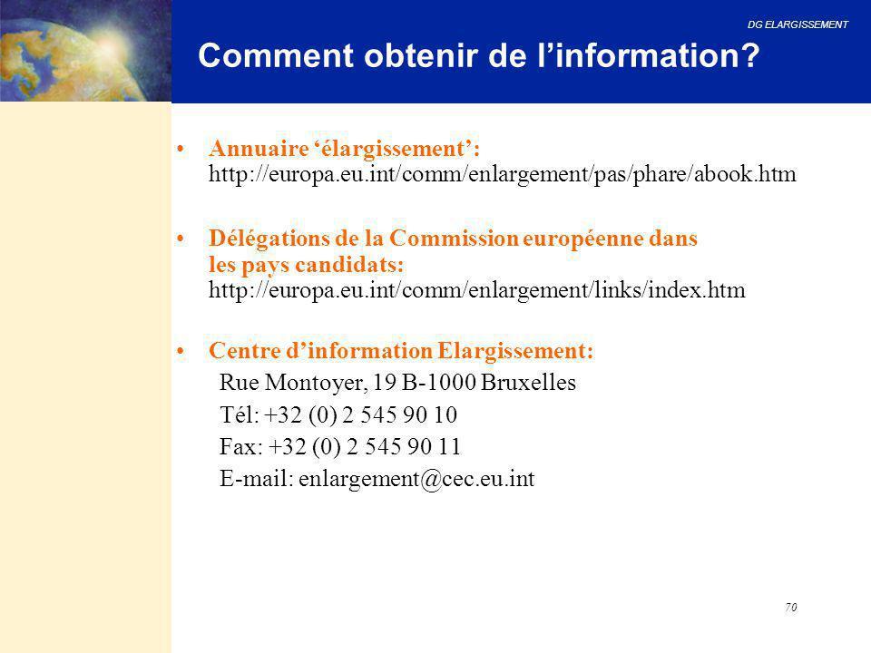 DG ELARGISSEMENT 70 Comment obtenir de l'information? Annuaire 'élargissement': http://europa.eu.int/comm/enlargement/pas/phare/abook.htm Délégations