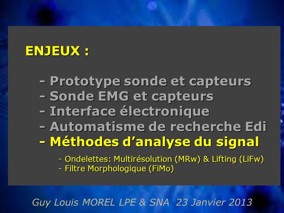 Guy Louis MOREL LPE & SNA 23 Janvier 2013 ENJEUX : - Prototype sonde et capteurs - Sonde EMG et capteurs - Interface électronique - Automatisme de recherche Edi - Méthodes d'analyse du signal - Ondelettes: Multirésolution (MRw) & Lifting (LiFw) - Ondelettes: Multirésolution (MRw) & Lifting (LiFw) - Filtre Morphologique (FiMo) - Filtre Morphologique (FiMo)