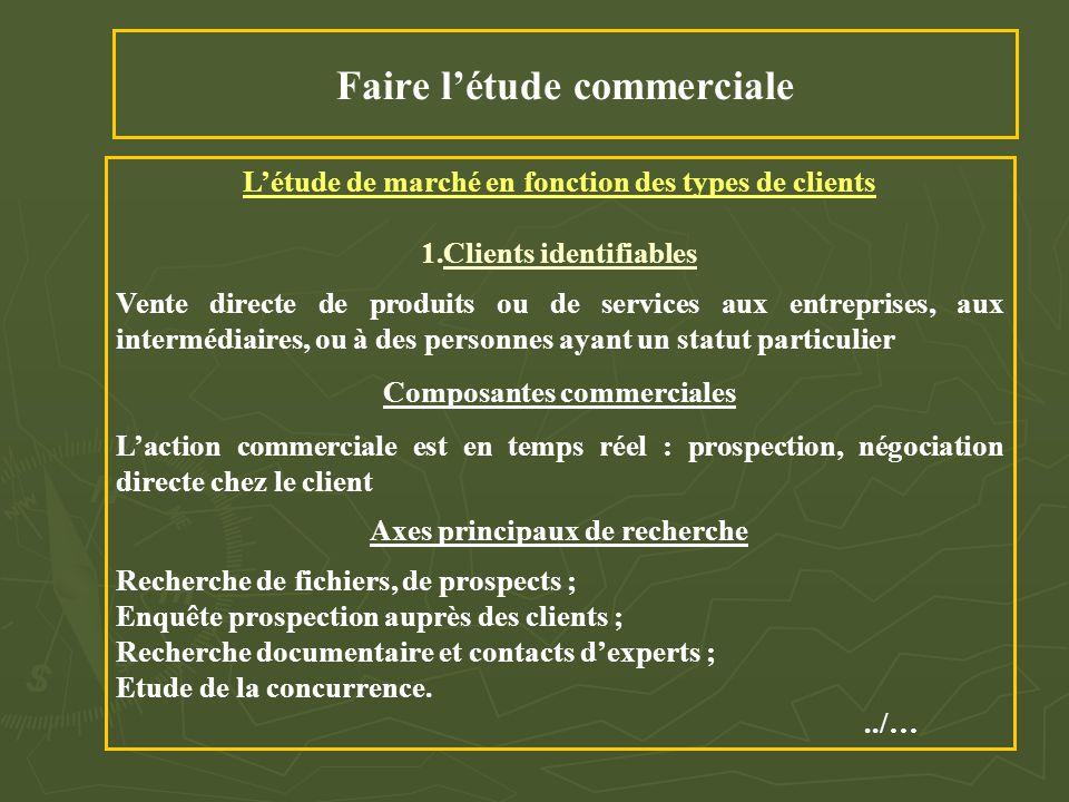 Faire l'étude commerciale L'étude de marché en fonction des types de clients 1.Clients identifiables Vente directe de produits ou de services aux entr