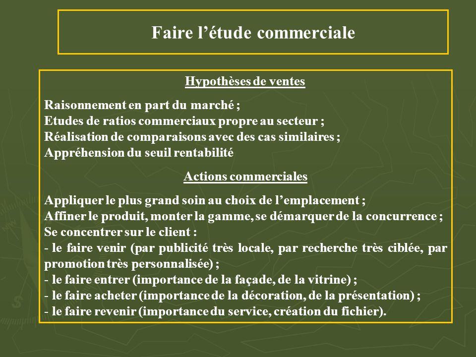Faire l'étude commerciale Hypothèses de ventes Raisonnement en part du marché ; Etudes de ratios commerciaux propre au secteur ; Réalisation de compar
