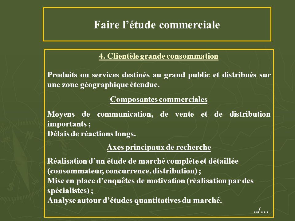 Faire l'étude commerciale 4. Clientèle grande consommation Produits ou services destinés au grand public et distribués sur une zone géographique étend
