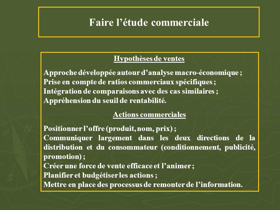 Faire l'étude commerciale Hypothèses de ventes Approche développée autour d'analyse macro-économique ; Prise en compte de ratios commerciaux spécifiqu