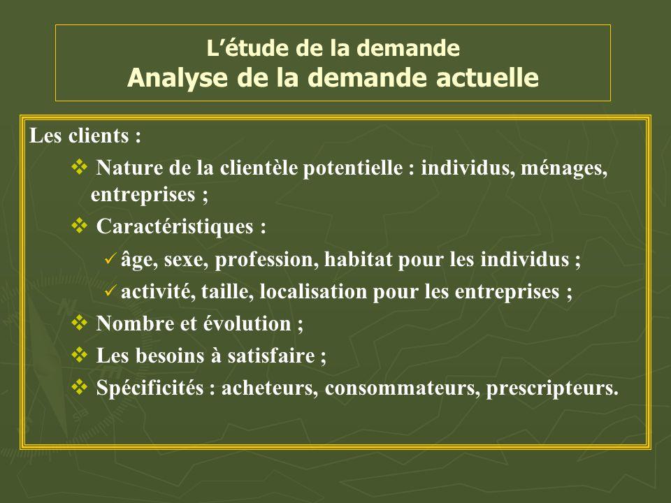 L'étude de la demande Analyse de la demande actuelle Les clients :   Nature de la clientèle potentielle : individus, ménages, entreprises ;   Cara