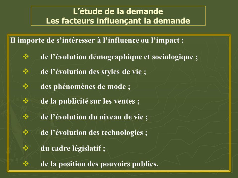 L'étude de la demande Les facteurs influençant la demande Il importe de s'intéresser à l'influence ou l'impact :   de l'évolution démographique et s