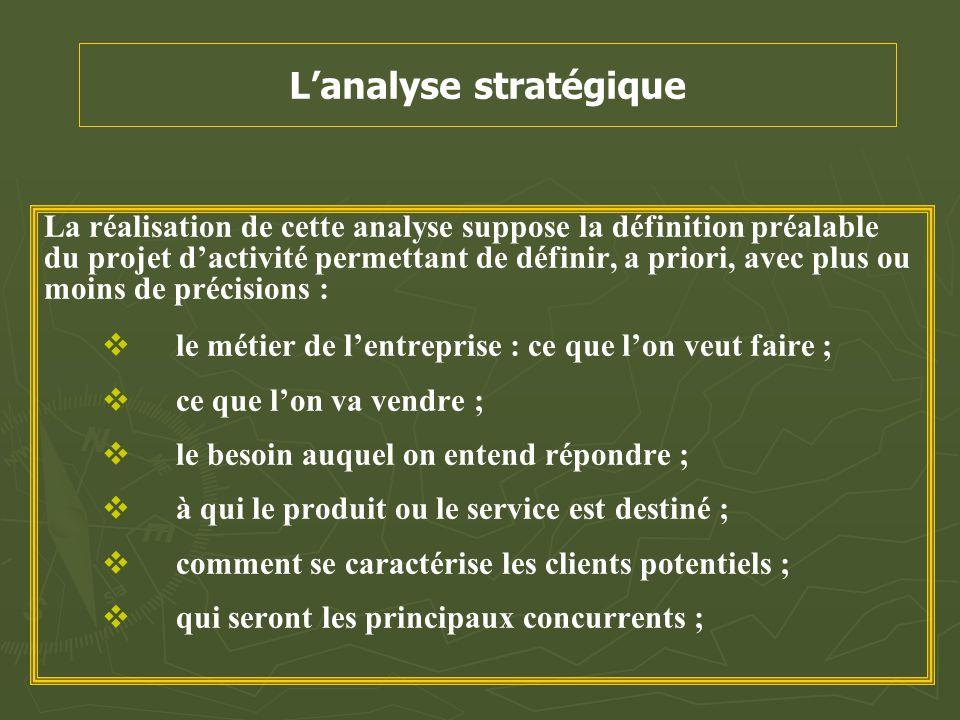 L'analyse stratégique La réalisation de cette analyse suppose la définition préalable du projet d'activité permettant de définir, a priori, avec plus