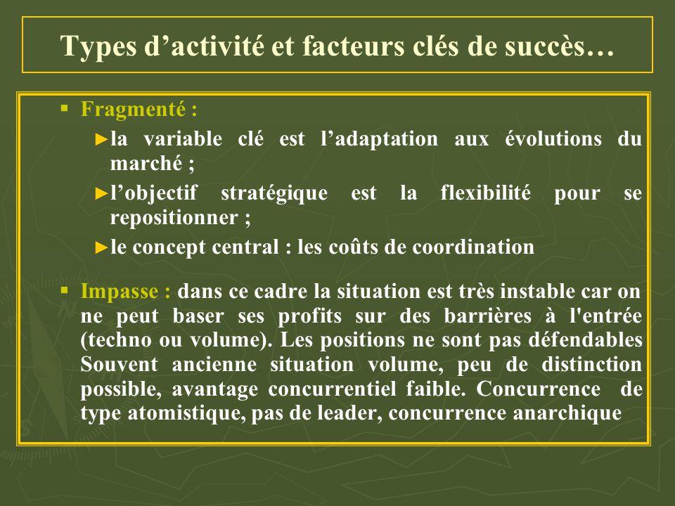 Types d'activité et facteurs clés de succès…   Fragmenté : ► ► la variable clé est l'adaptation aux évolutions du marché ; ► ► l'objectif stratégiqu