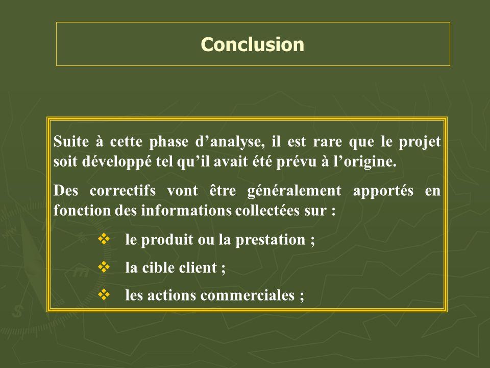 Conclusion Suite à cette phase d'analyse, il est rare que le projet soit développé tel qu'il avait été prévu à l'origine. Des correctifs vont être gén