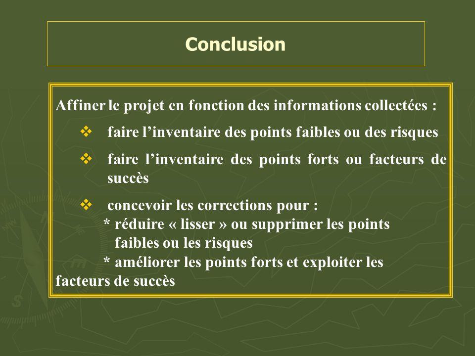 Conclusion Affiner le projet en fonction des informations collectées :  faire l'inventaire des points faibles ou des risques  faire l'inventaire des