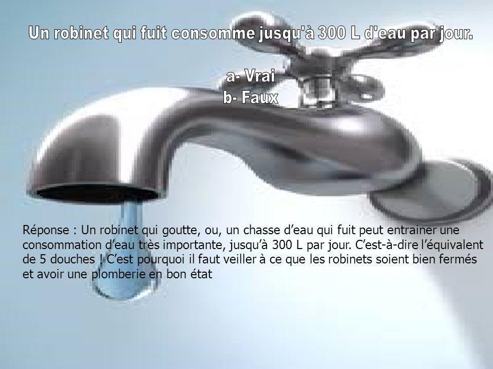 Réponse : Un robinet qui goutte, ou, un chasse d'eau qui fuit peut entrainer une consommation d'eau très importante, jusqu'à 300 L par jour.