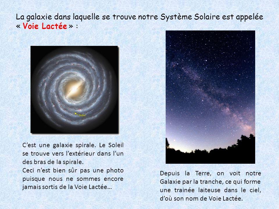 La galaxie dans laquelle se trouve notre Système Solaire est appelée « Voie Lactée » : C'est une galaxie spirale. Le Soleil se trouve vers l'extérieur