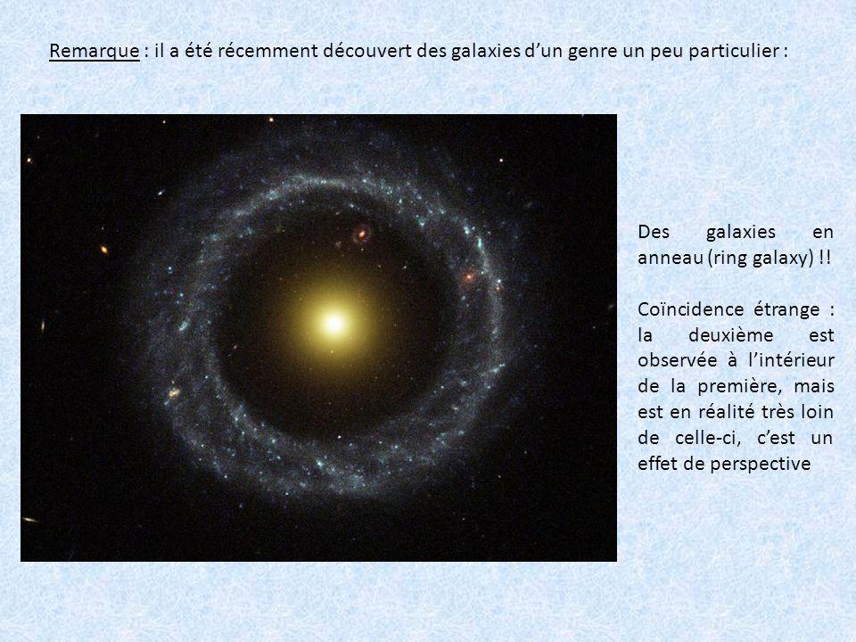 Remarque : il a été récemment découvert des galaxies d'un genre un peu particulier : Des galaxies en anneau (ring galaxy) !! Coïncidence étrange : la