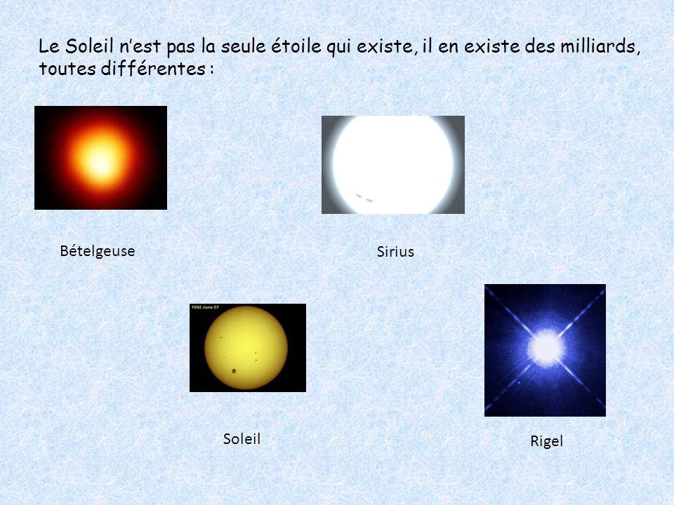 Bételgeuse Soleil Sirius Rigel Le Soleil n'est pas la seule étoile qui existe, il en existe des milliards, toutes différentes :