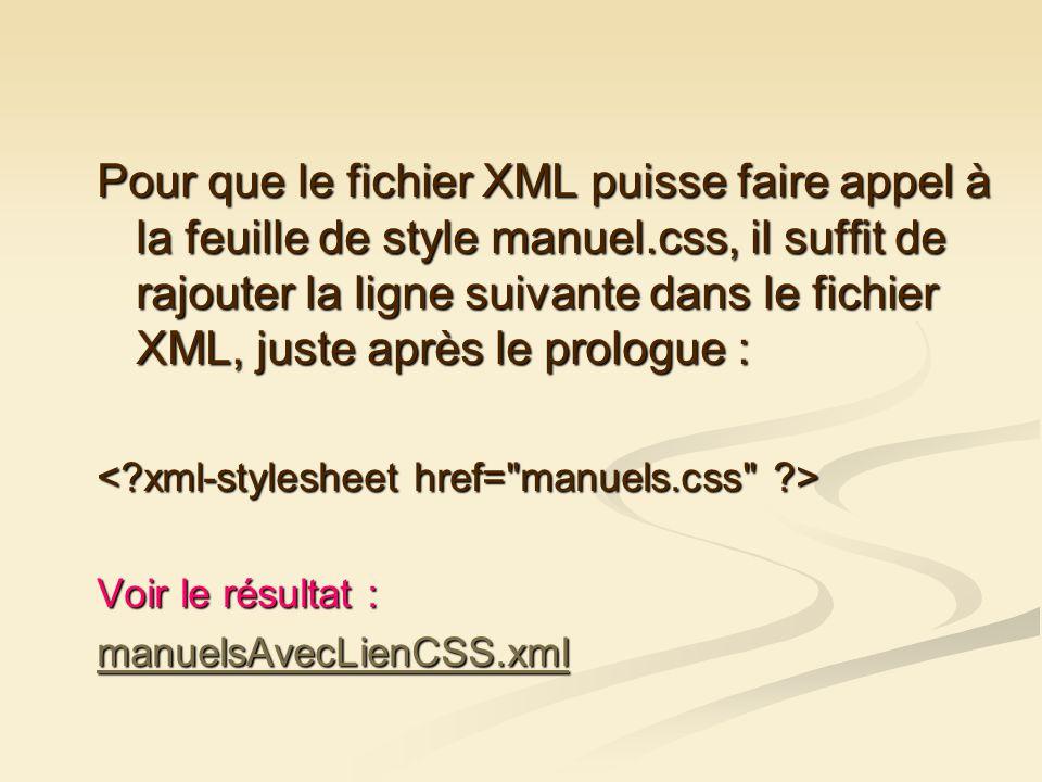 Pour que le fichier XML puisse faire appel à la feuille de style manuel.css, il suffit de rajouter la ligne suivante dans le fichier XML, juste après