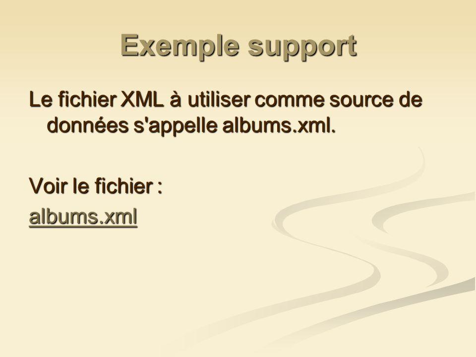 Exemple support Le fichier XML à utiliser comme source de données s'appelle albums.xml. Voir le fichier : albums.xml