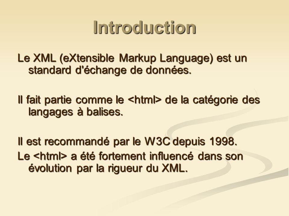 Introduction Le XML (eXtensible Markup Language) est un standard d'échange de données. Il fait partie comme le de la catégorie des langages à balises.