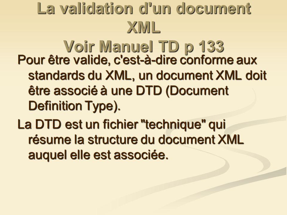 La validation d'un document XML Voir Manuel TD p 133 Pour être valide, c'est-à-dire conforme aux standards du XML, un document XML doit être associé à
