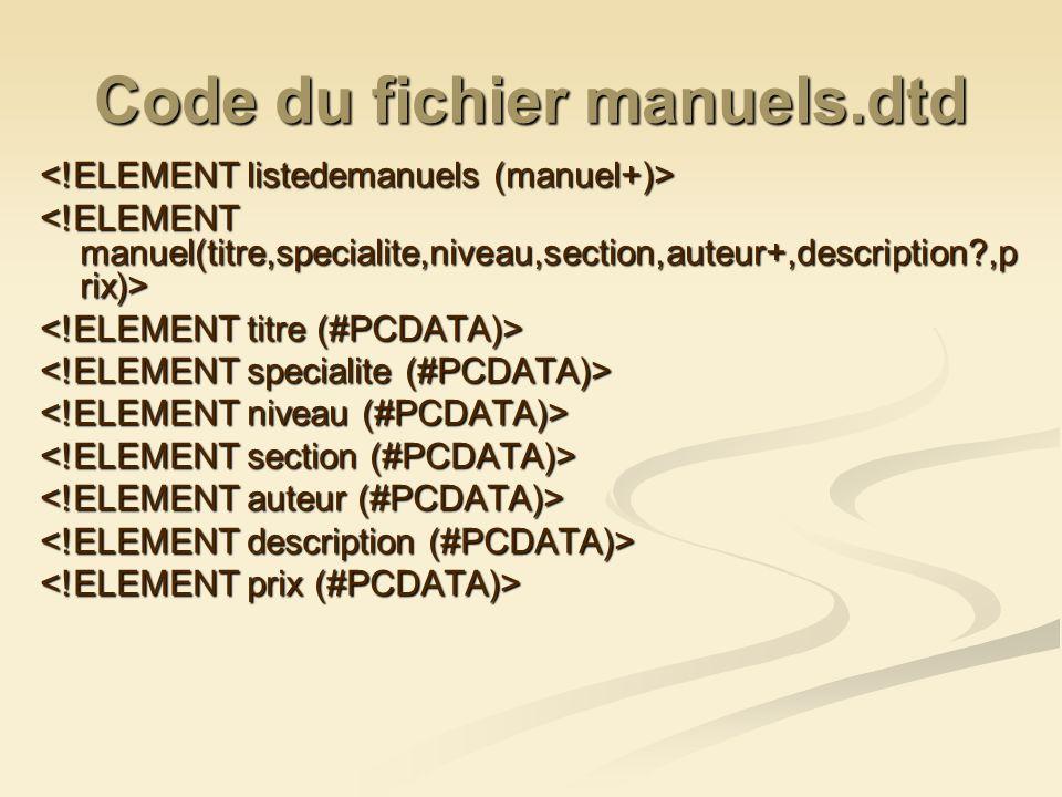 Code du fichier manuels.dtd