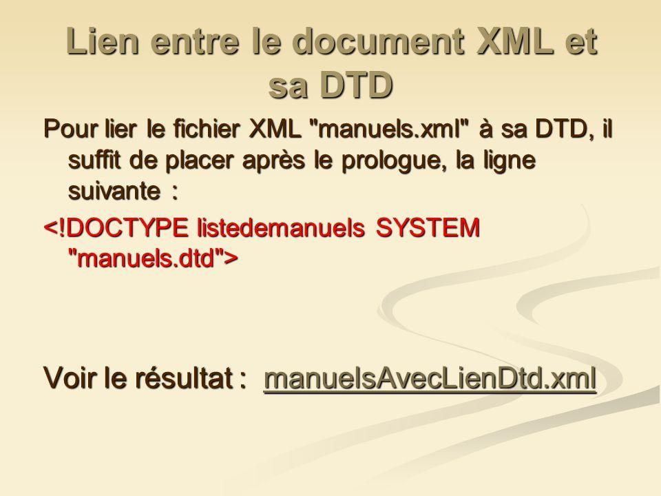 Lien entre le document XML et sa DTD Pour lier le fichier XML