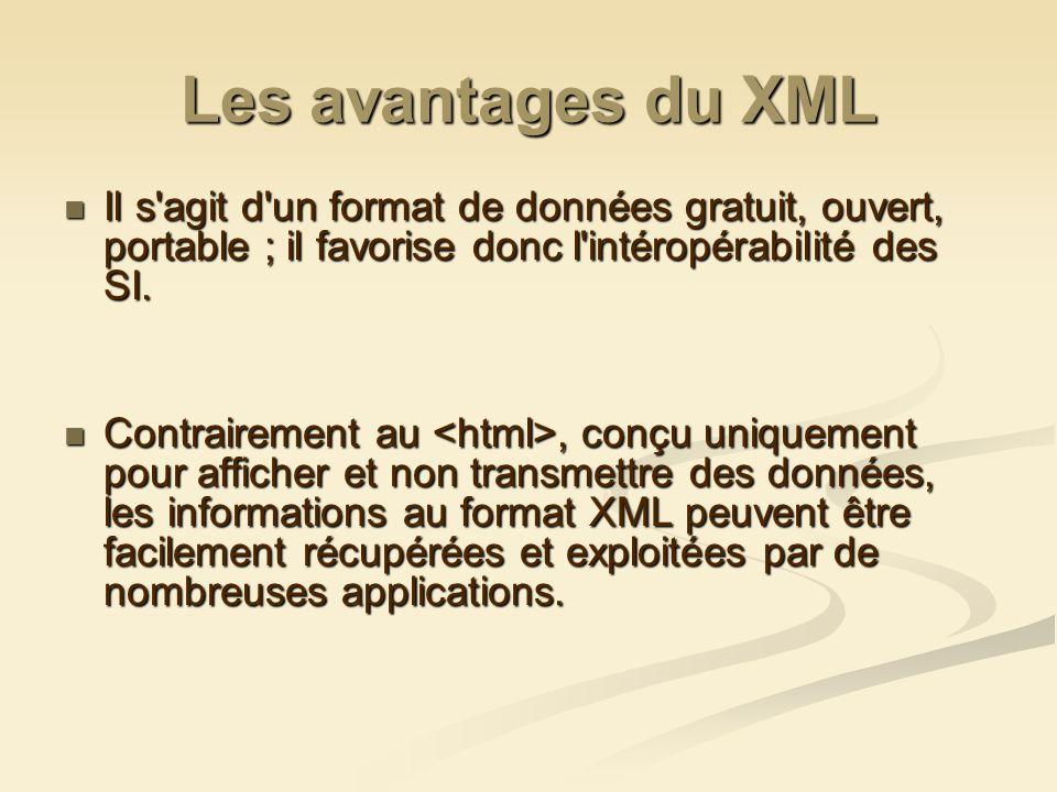 Les avantages du XML Il s'agit d'un format de données gratuit, ouvert, portable ; il favorise donc l'intéropérabilité des SI. Il s'agit d'un format de