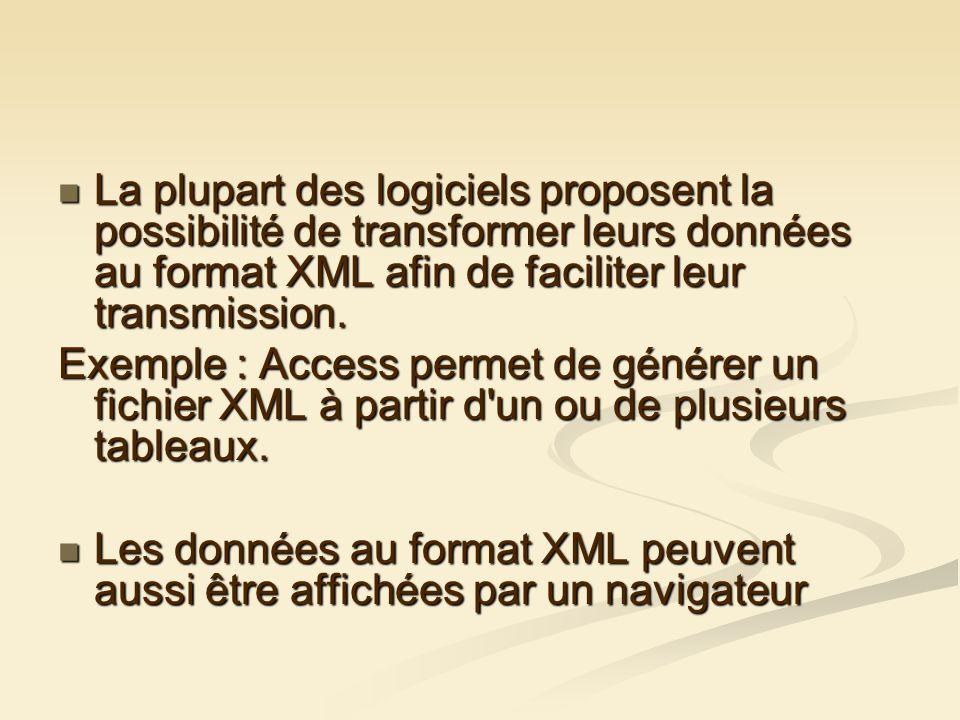 La plupart des logiciels proposent la possibilité de transformer leurs données au format XML afin de faciliter leur transmission.