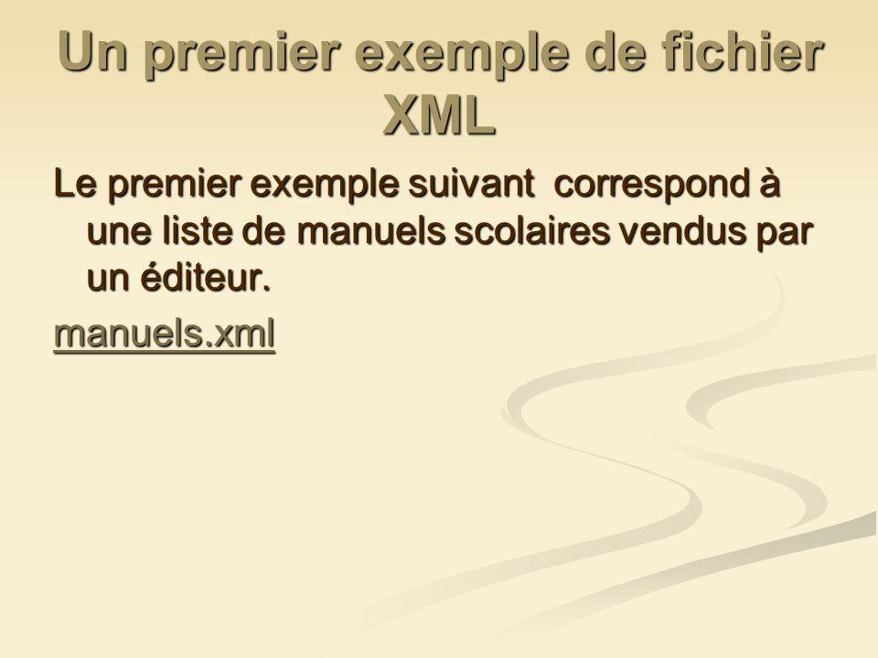 Un premier exemple de fichier XML Le premier exemple suivant correspond à une liste de manuels scolaires vendus par un éditeur. manuels.xml