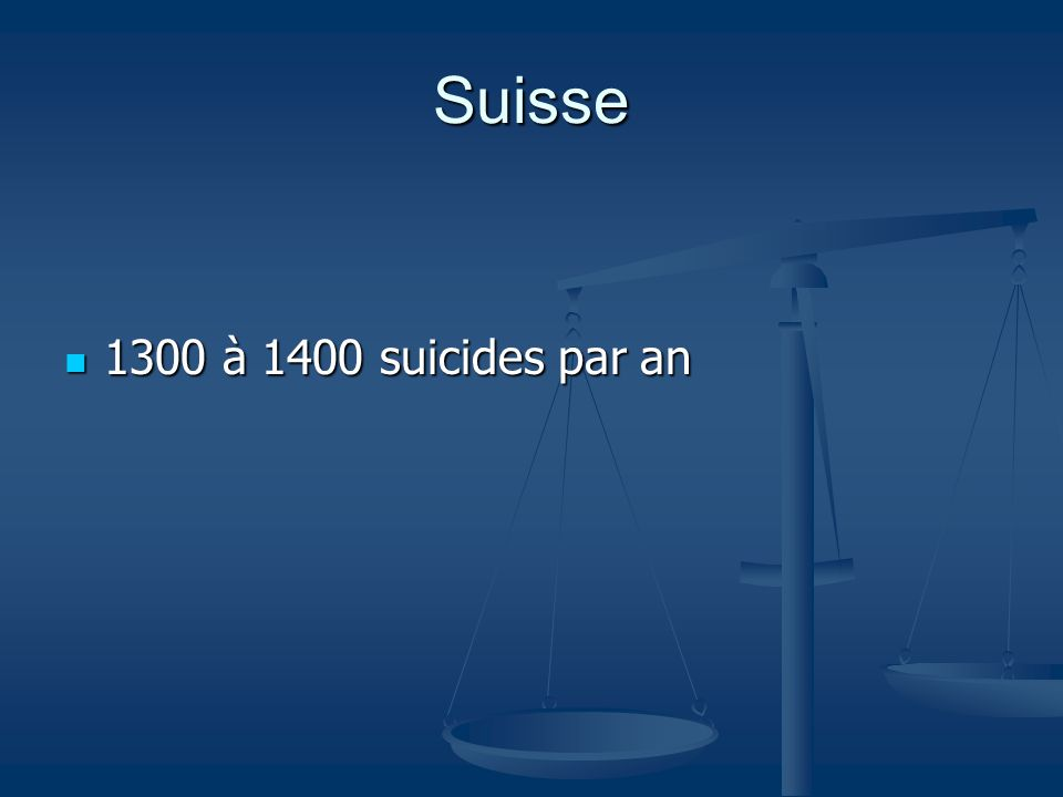 Suisse 1300 à 1400 suicides par an 1300 à 1400 suicides par an