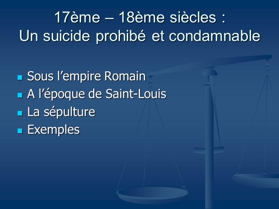 19ème siècle : Un suicide expliqué grâce aux découvertes de l'inconscient La psychanalyse La psychanalyse L'Eglise L'Eglise