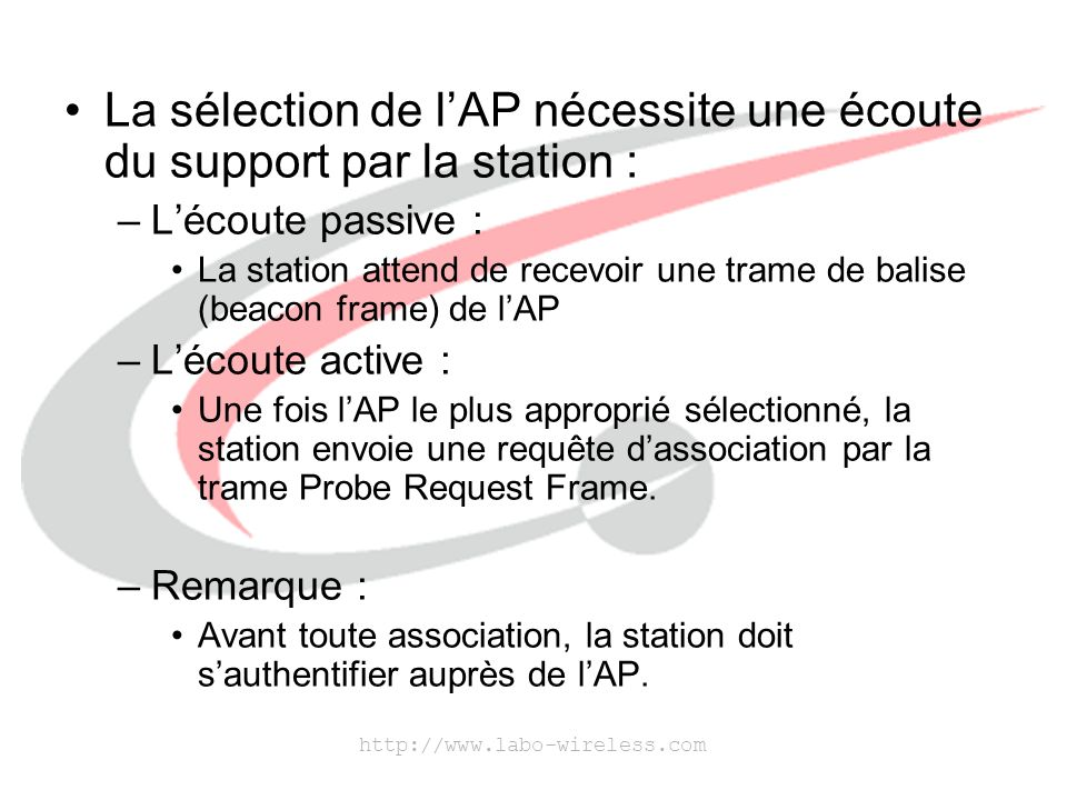 http://www.labo-wireless.com Les causes de la réassociation : –Déplacement d'une station entraînant une diminution de la puissance du signal de l'AP auquel elle est connectée.