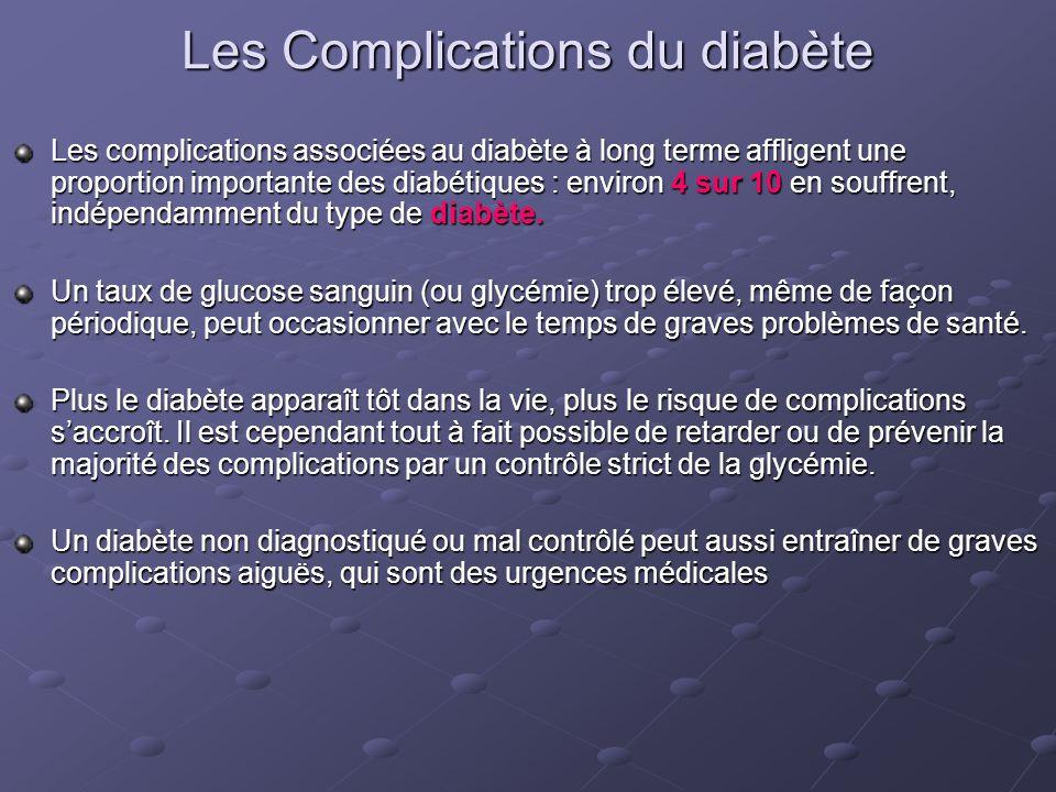 Les Complications du diabète Les complications associées au diabète à long terme affligent une proportion importante des diabétiques : environ 4 sur 1