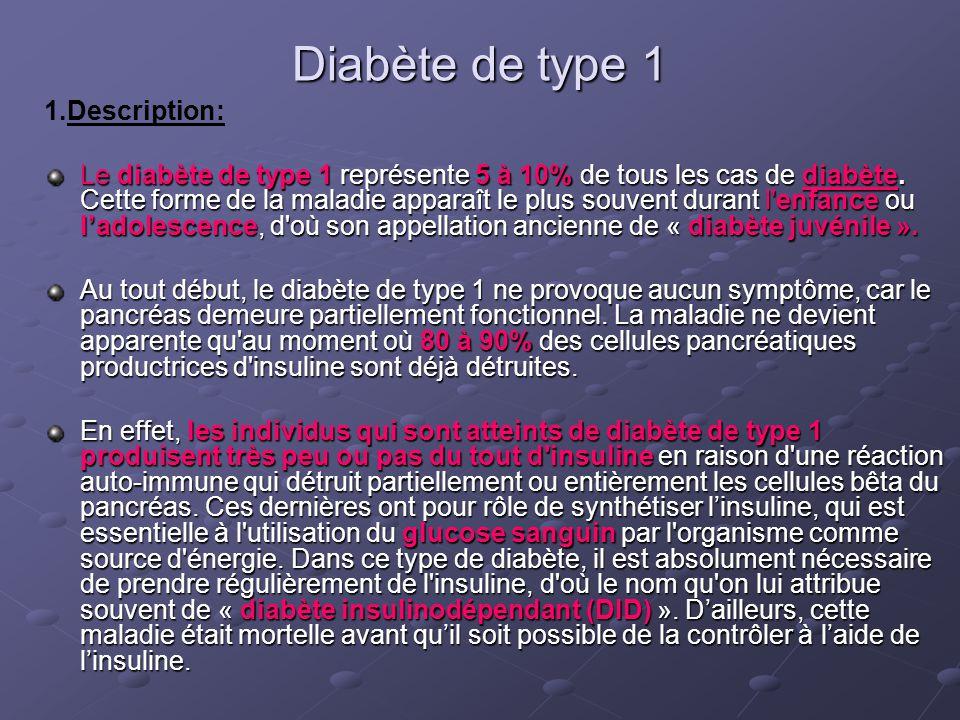 Diabète de type 1 1.Description: Le diabète de type 1 représente 5 à 10% de tous les cas de diabète. Cette forme de la maladie apparaît le plus souven