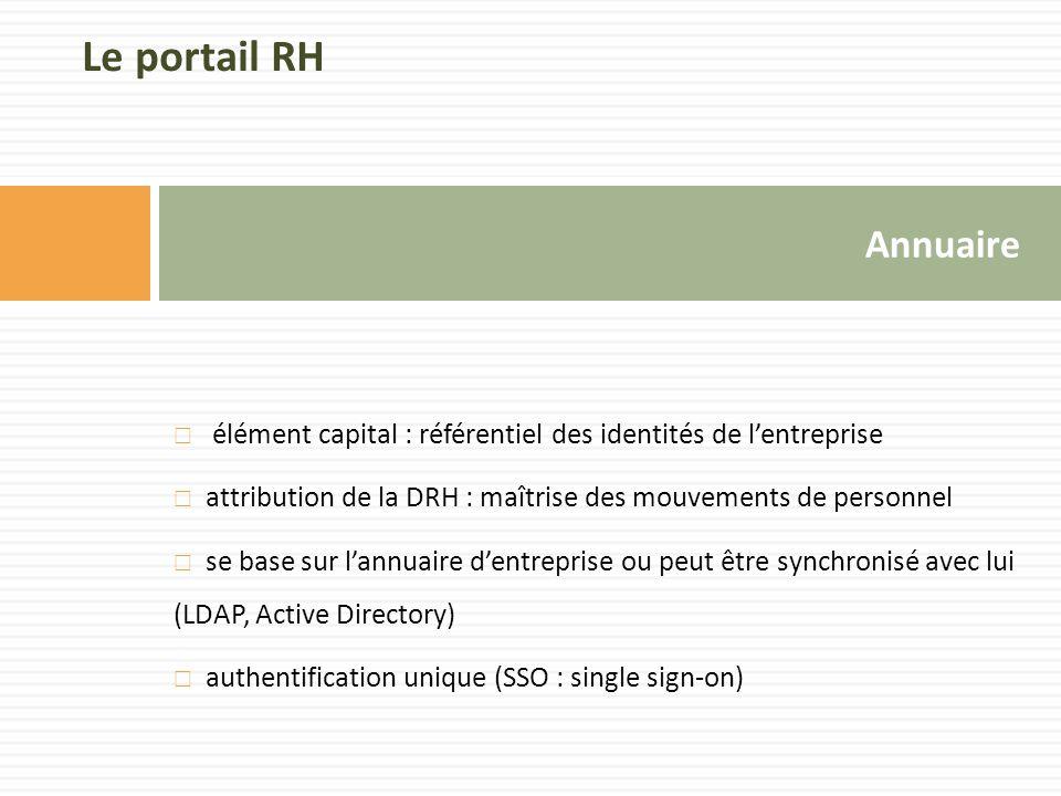 Annuaire  élément capital : référentiel des identités de l'entreprise  attribution de la DRH : maîtrise des mouvements de personnel  se base sur l'annuaire d'entreprise ou peut être synchronisé avec lui (LDAP, Active Directory)  authentification unique (SSO : single sign-on) Le portail RH