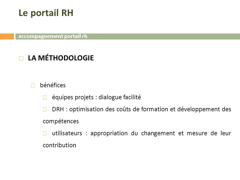 accompagnement portail rh Le portail RH  LA MÉTHODOLOGIE  bénéfices  équipes projets : dialogue facilité  DRH : optimisation des coûts de formation et développement des compétences  utilisateurs : appropriation du changement et mesure de leur contribution