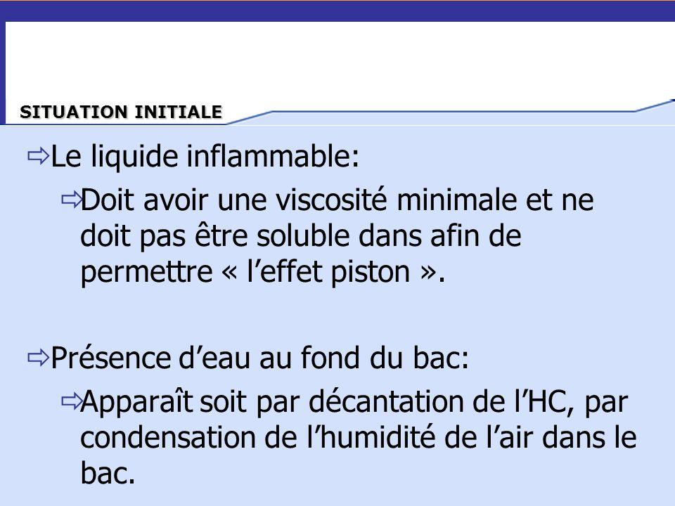  Le liquide inflammable:  Doit avoir une viscosité minimale et ne doit pas être soluble dans afin de permettre « l'effet piston ».  Présence d'eau