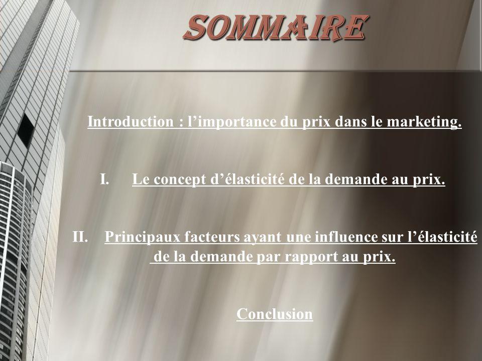 SOMMAIRE Introduction : l'importance du prix dans le marketing. I. I.Le concept d'élasticité de la demande au prix. II. II.Principaux facteurs ayant u