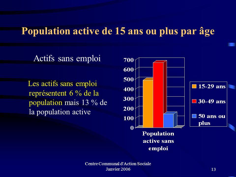 Centre Communal d Action Sociale Janvier 200612 Population active de 15 ans ou plus par âge Actifs ayant un emploi Les actifs ayant un emploi représentent 41 % de la population mais 87 % de la population active