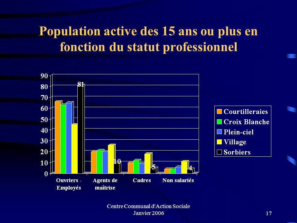 Centre Communal d'Action Sociale Janvier 200616 Population active des 15 ans ou plus en fonction du statut professionnel