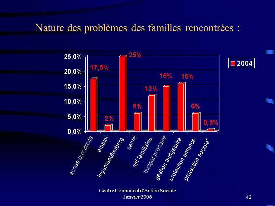 Centre Communal d'Action Sociale Janvier 200641 Situation familiale des familles rencontrées (2002-2004)
