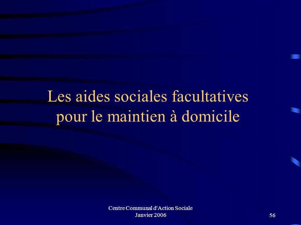 Centre Communal d'Action Sociale Janvier 200655 Instruction des dossiers année 2004 ALLOCATION SPECIALE VIEILLESSE 7 AIDE SOCIALE AUX PERSONNES HANDIC