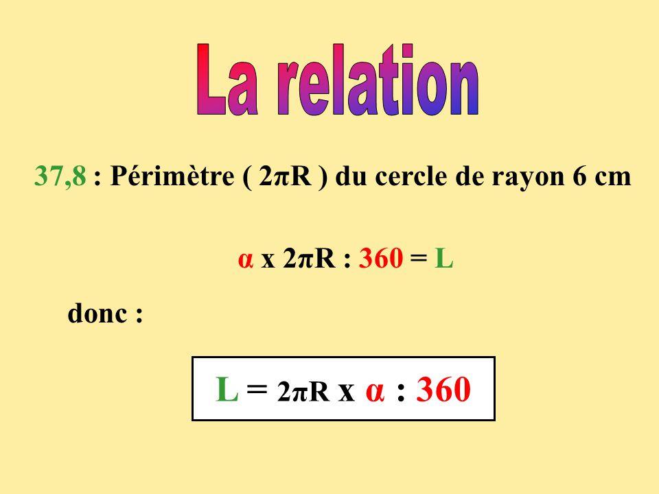 37,8 : Périmètre ( 2πR ) du cercle de rayon 6 cm α x 2πR : 360 = L donc : L = 2πR x α : 360