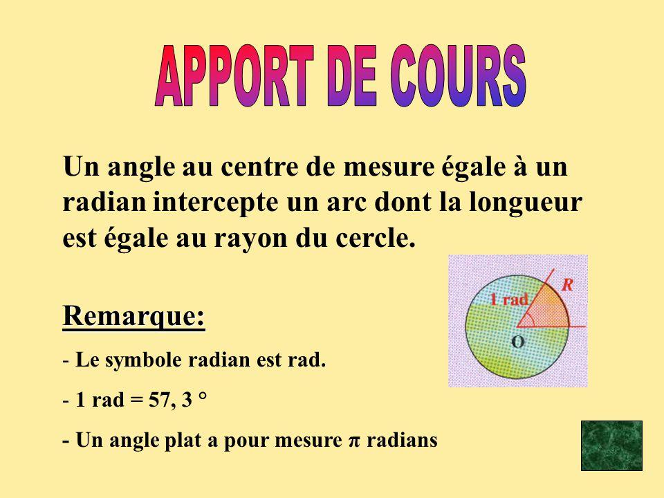 Un angle au centre de mesure égale à un radian intercepte un arc dont la longueur est égale au rayon du cercle.