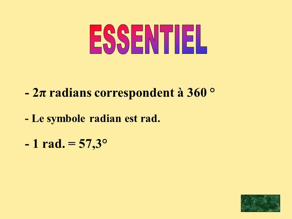 - 2π radians correspondent à 360 ° - Le symbole radian est rad. - 1 rad. = 57,3°