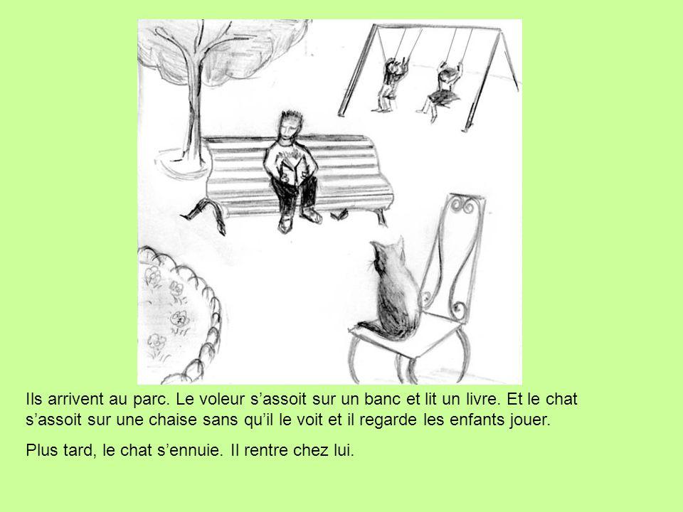 Ils arrivent au parc. Le voleur s'assoit sur un banc et lit un livre. Et le chat s'assoit sur une chaise sans qu'il le voit et il regarde les enfants