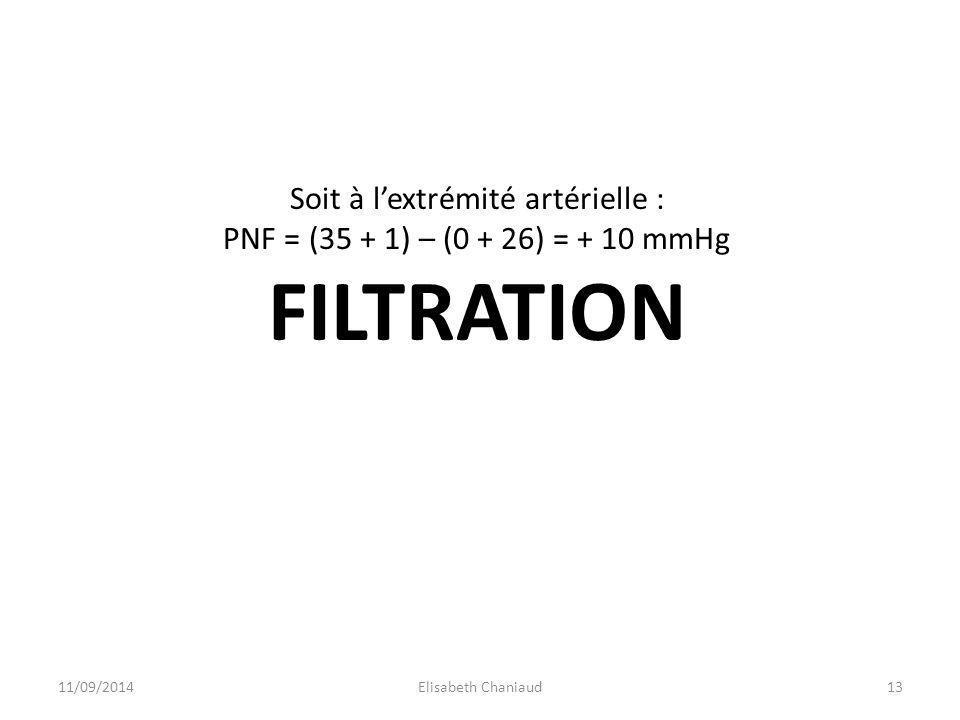 Soit à l'extrémité artérielle : PNF = (35 + 1) – (0 + 26) = + 10 mmHg FILTRATION 11/09/201413Elisabeth Chaniaud