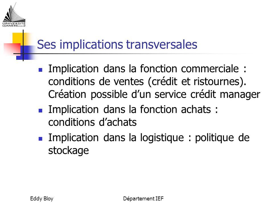Eddy BloyDépartement IEF Ses implications transversales Implication dans la fonction commerciale : conditions de ventes (crédit et ristournes).