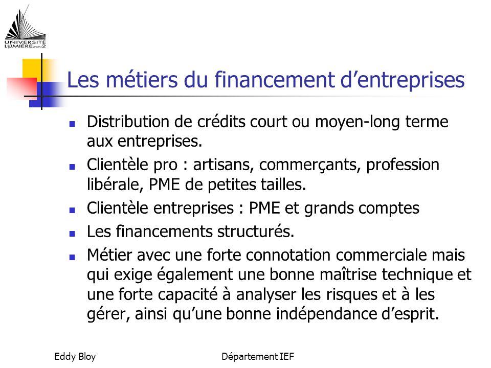 Eddy BloyDépartement IEF Les métiers du financement d'entreprises Distribution de crédits court ou moyen-long terme aux entreprises.