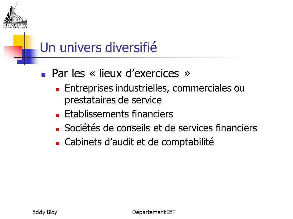 Eddy BloyDépartement IEF Les métiers de la banque