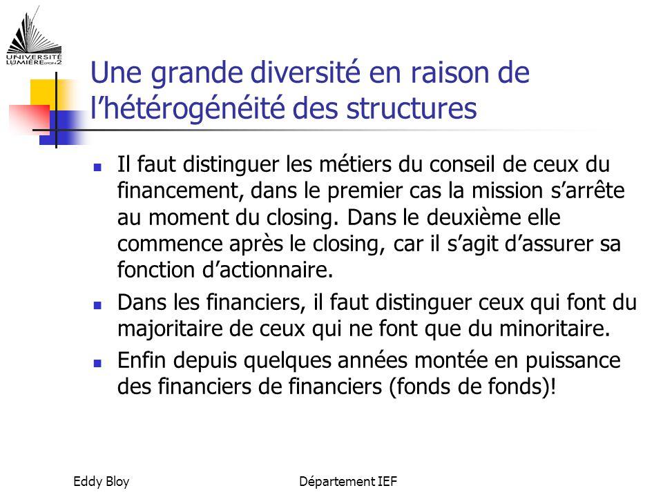 Eddy BloyDépartement IEF Une grande diversité en raison de l'hétérogénéité des structures Il faut distinguer les métiers du conseil de ceux du financement, dans le premier cas la mission s'arrête au moment du closing.