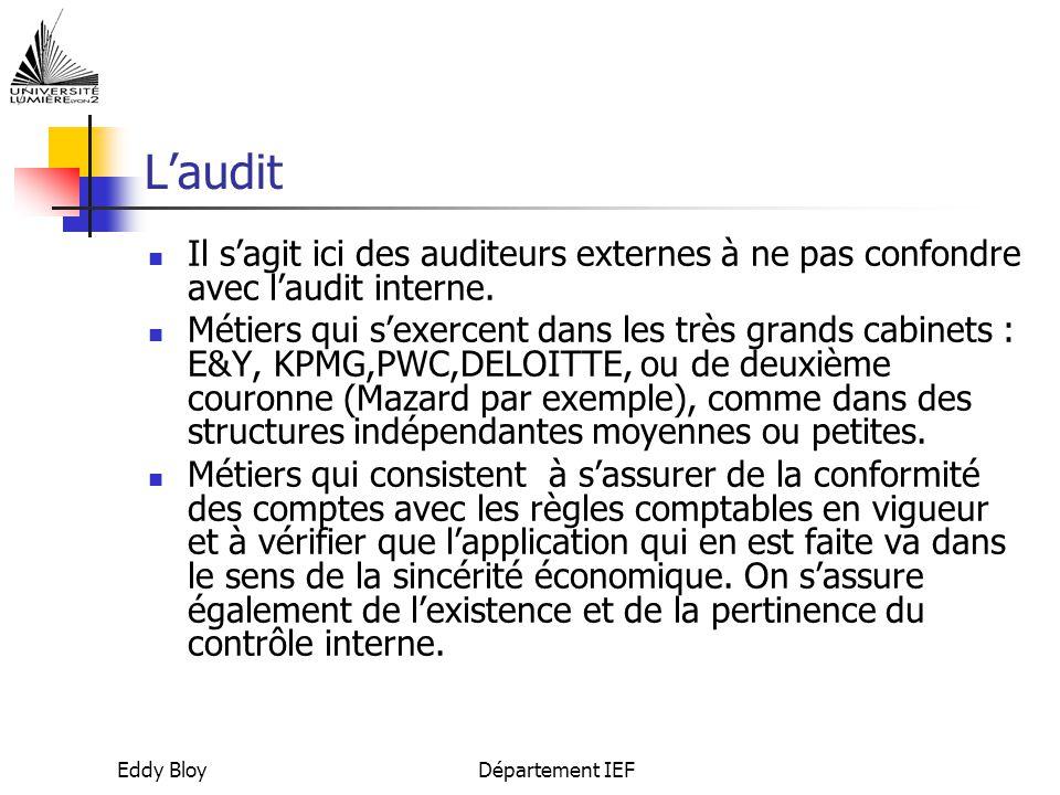 Eddy BloyDépartement IEF L'audit Il s'agit ici des auditeurs externes à ne pas confondre avec l'audit interne.