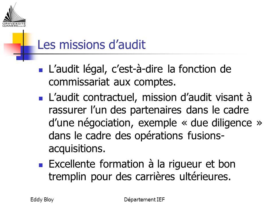Eddy BloyDépartement IEF Les missions d'audit L'audit légal, c'est-à-dire la fonction de commissariat aux comptes.